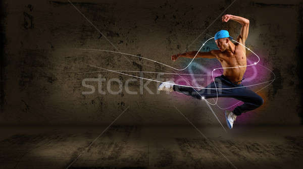 Hip hop danseur sautant espace texte collage Photo stock © adam121