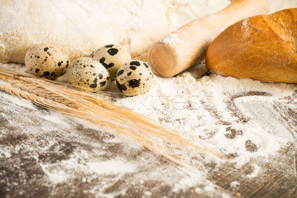 小麦粉 卵 白パン 小麦 耳 静物 ストックフォト © adam121