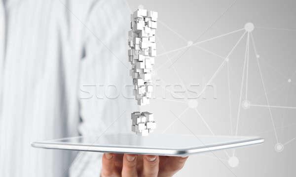 Wykrzyknik tabletka strony biznesmen Zdjęcia stock © adam121