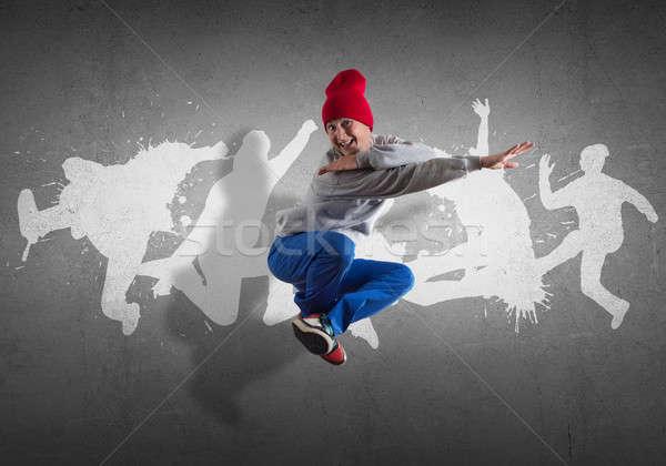 Hip hop ballerino giovani Vai sagome grigio Foto d'archivio © adam121