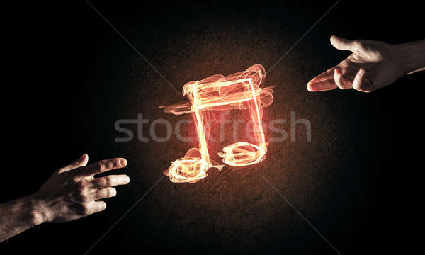 Music concept presented by fire burning icon and creation gestur Stock photo © adam121