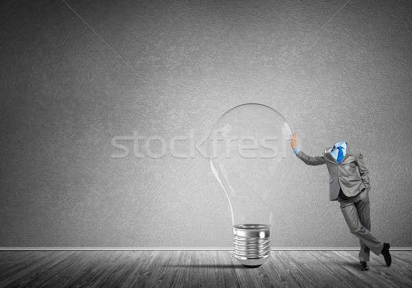 創造的思考 ビジネスマン の空室 ガラス 電球 ストックフォト © adam121