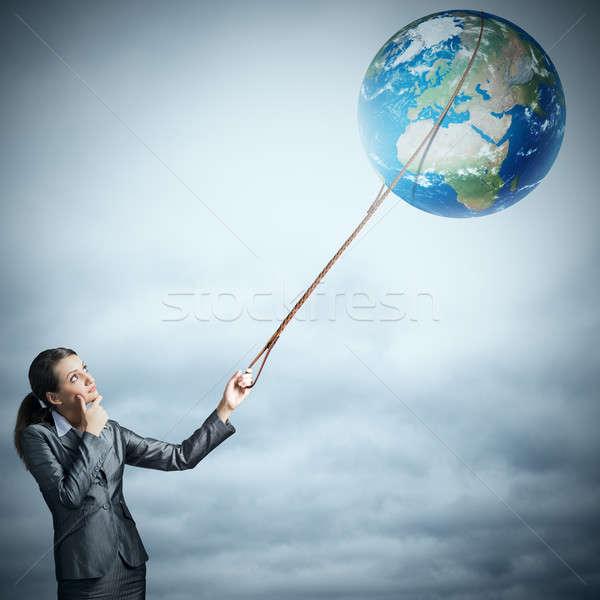 女性 キャッチ 地球 惑星 ビジネスマン 要素 ストックフォト © adam121