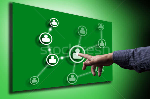 Sociale hand virtueel knop badge chat Stockfoto © adam121