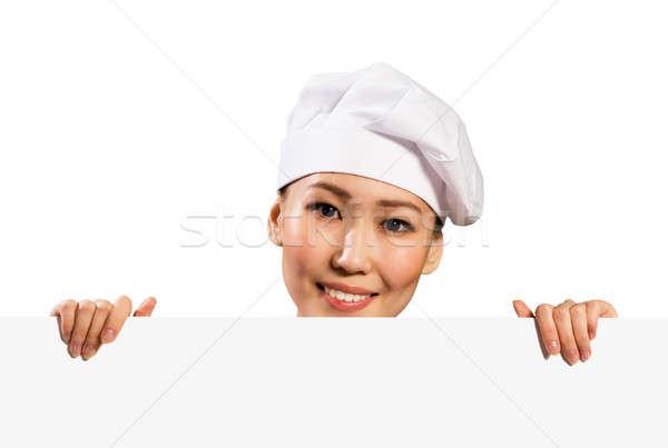 Stockfoto: Vrouwelijke · chef · poster · tekst · kijken