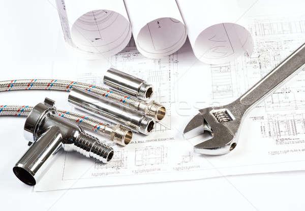 Sanitair tekeningen bouw stilleven desktop werkruimte Stockfoto © adam121