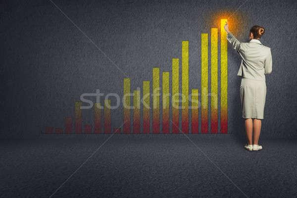 Femme d'affaires croissance graphiques mur permanent échelle Photo stock © adam121