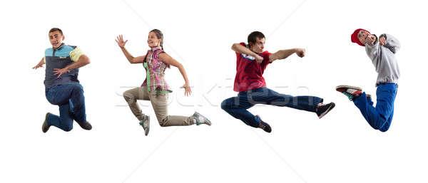 хип-хоп танцоры группа танцовщицы Перейти изолированный Сток-фото © adam121