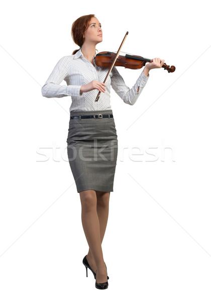 Stock fotó: üzletasszony · játszik · hegedű · fiatal · csinos · izolált
