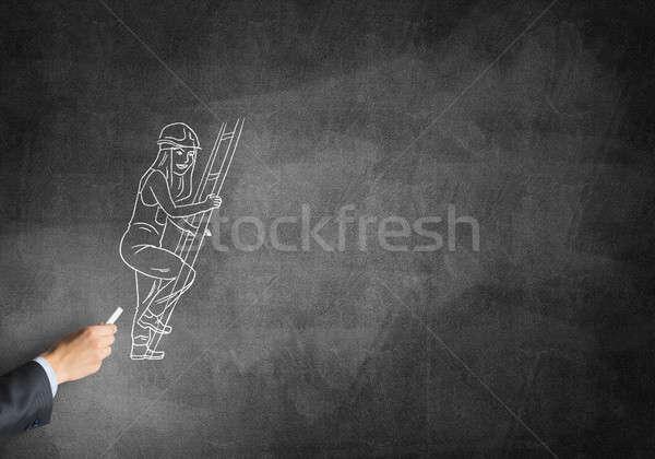 Karykatura budowniczy kobieta mężczyzna strony rysunek Zdjęcia stock © adam121