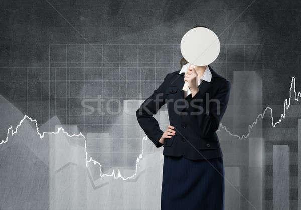 Irriconoscibile imprenditrice grafici nascondere faccia dietro Foto d'archivio © adam121