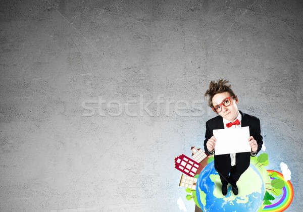 Képregény üzletember Föld felső kilátás vicces Stock fotó © adam121