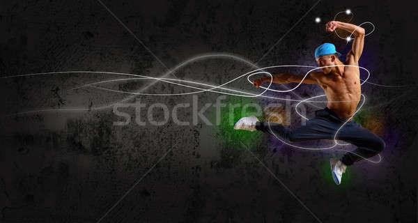 Hip hop táncos ugrik űr szöveg kollázs Stock fotó © adam121