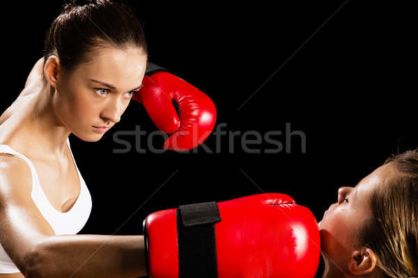 Femme boxe agressif adversaire tête santé Photo stock © adam121