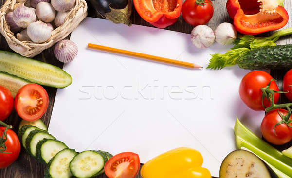 Vegetables tiled around a sheet of paper Stock photo © adam121