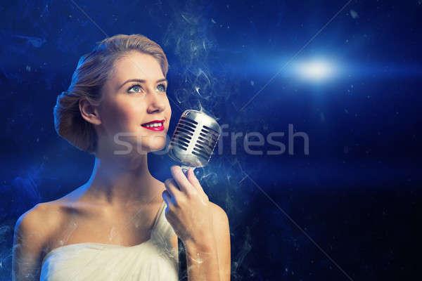 Chanteur micro derrière résumé mode Photo stock © adam121