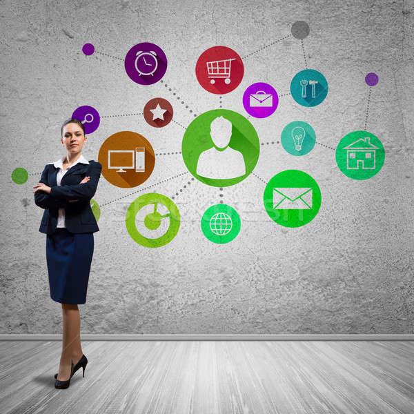 Interfejs prezentacji kobieta interesu kolor aplikacja ikona Zdjęcia stock © adam121