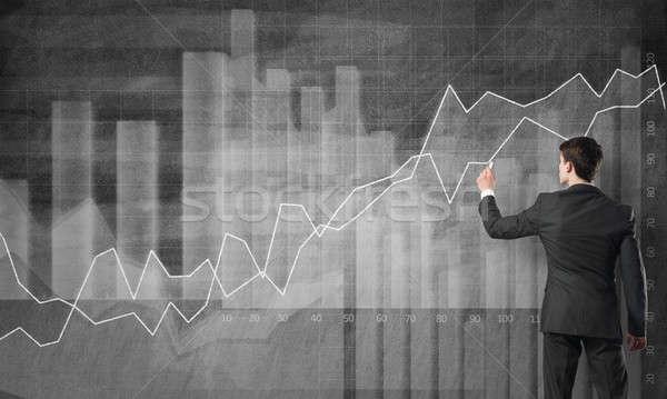 Dynamica financiële groei achteraanzicht zakenman tekening Stockfoto © adam121