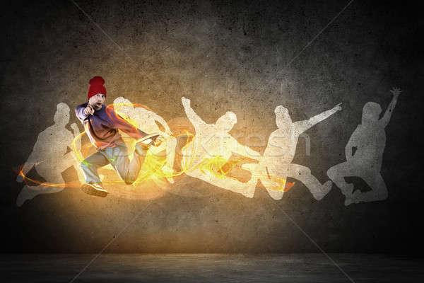 ヒップホップ ダンサー 小さな ジャンプ シルエット グレー ストックフォト © adam121
