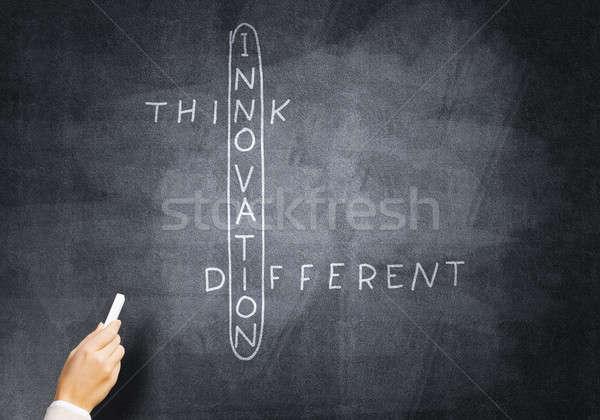 Mulher desenhar palavras cruzadas negócio giz Foto stock © adam121
