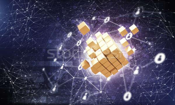 Internet Vernetzung digitalen Würfel Figur Bild Stock foto © adam121