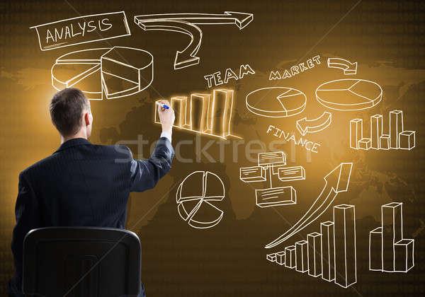 Işadamı çizim İş stratejisi oturma geri sandalye Stok fotoğraf © adam121