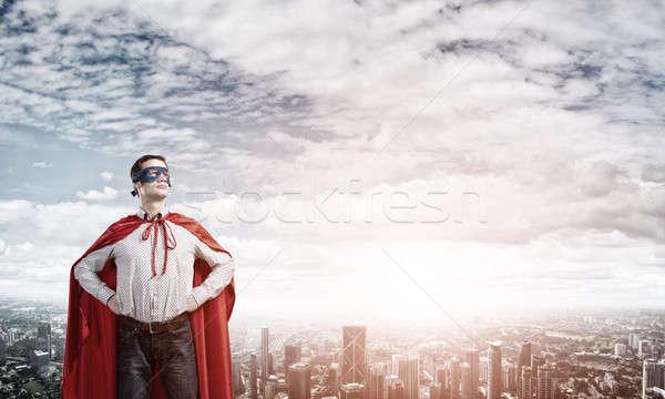Süper kahraman genç adam maske silah Stok fotoğraf © adam121