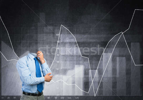 Pensativo empresario cabeza brazo barbilla pensando Foto stock © adam121