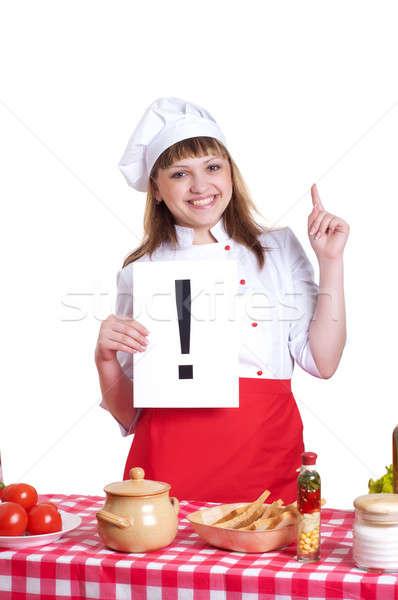 Mujer signo signo de admiración placa alimentos Foto stock © adam121