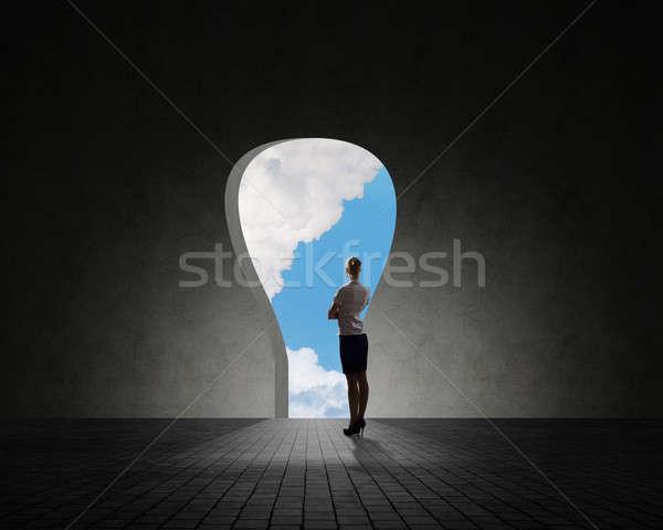 Zakenvrouw permanente gat muur licht abstract Stockfoto © adam121