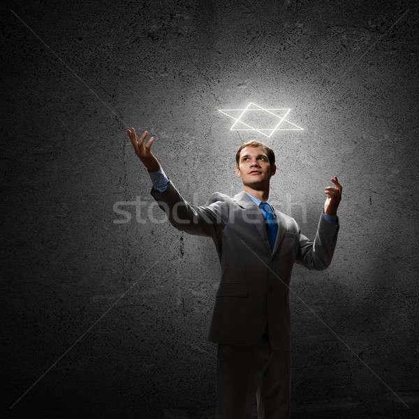Stock fotó: Gesztikulál · üzletember · fiatal · jóképű · hat · csillag