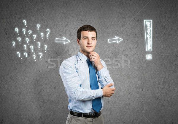 ストックフォト: 考え · 小さな · ハンサム · ビジネスマン