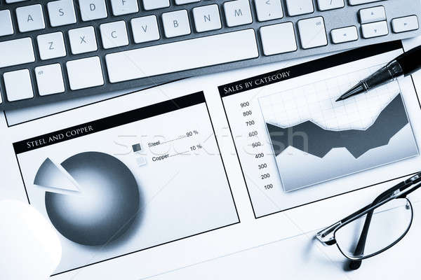 Média de vendas relatório negócio local de trabalho teclado Foto stock © adam121