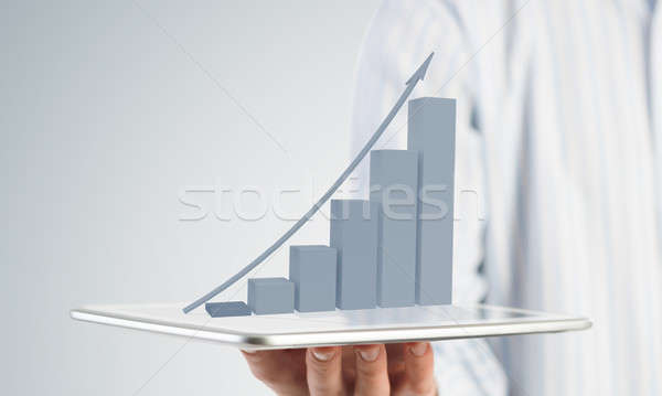 Dinamika piac eladó üzletember kéz tart Stock fotó © adam121