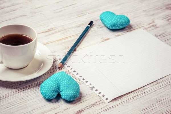 Foto d'archivio: Confessione · san · valentino · tazza · di · caffè · notepad · matita · due