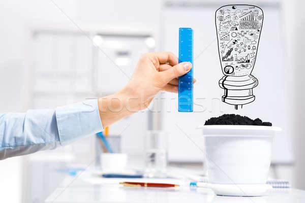 Nő jövedelem kéz üzletember mér vonalzó Stock fotó © adam121