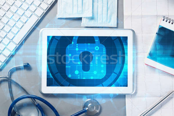 Haut vue médecin travail médecine Photo stock © adam121