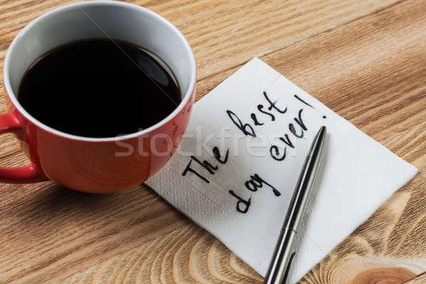 Romantische bericht geschreven servet koffiekopje pen Stockfoto © adam121