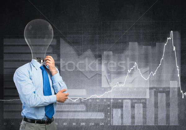 человека мышления Идея задумчивый бизнесмен лампы Сток-фото © adam121