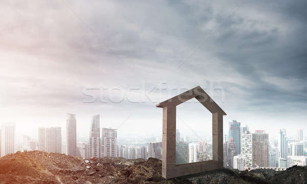 Image concrètes maison signe colline naturelles Photo stock © adam121