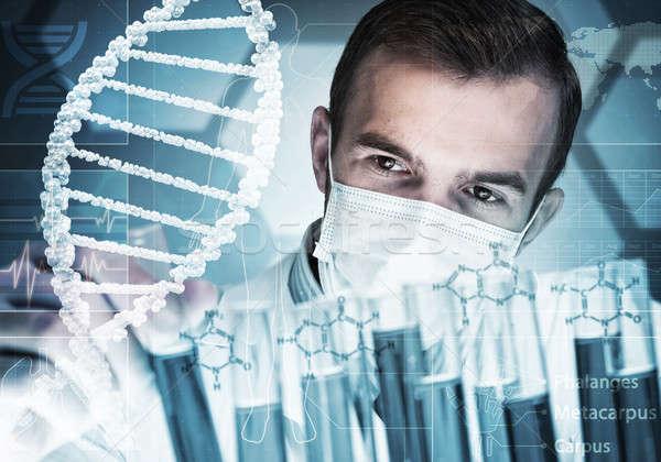 Jovem cientista vidro clínico laboratório Foto stock © adam121