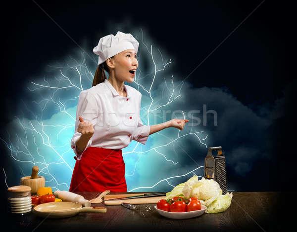 Asia mujer furioso cocinar collage chef Foto stock © adam121