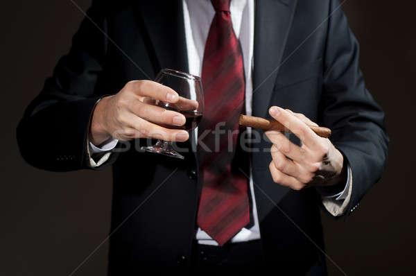 Gazdag személy szivar whisky férfi üzlet Stock fotó © adam121