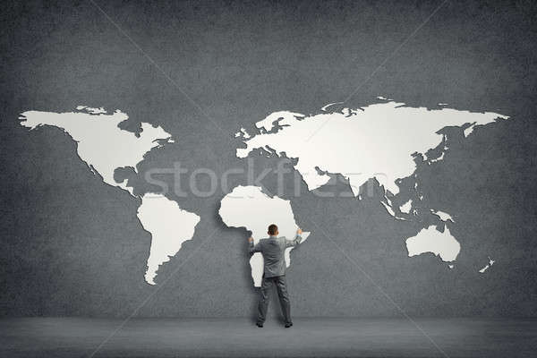 Affaires mur continents continent Afrique main Photo stock © adam121