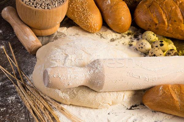 ストックフォト: 小麦粉 · 卵 · 白パン · 小麦 · 耳 · 静物