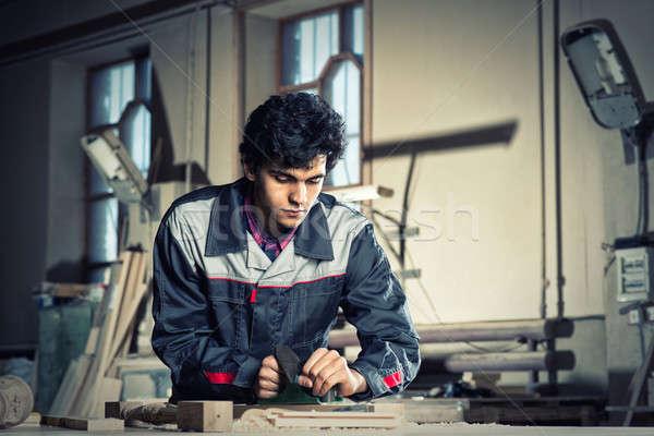 Сток-фото: плотник · работу · молодые · ремесленник · равномерный · рабочих