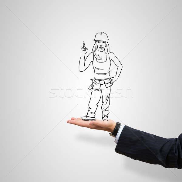 Mérnök nő pálma rajzolt női szürke Stock fotó © adam121