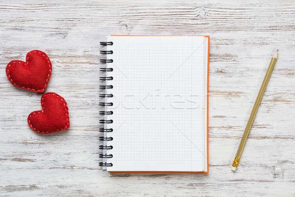 Amor mensaje invitación corazones bloc de notas lápiz Foto stock © adam121