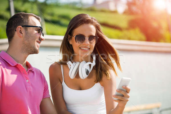 Weekend lata parku młodych uśmiechnięty para Zdjęcia stock © adam121
