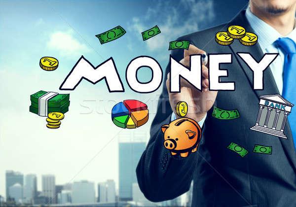 Stock fotó: üzletember · rajz · üzlet · ikonok · közelkép · képernyő